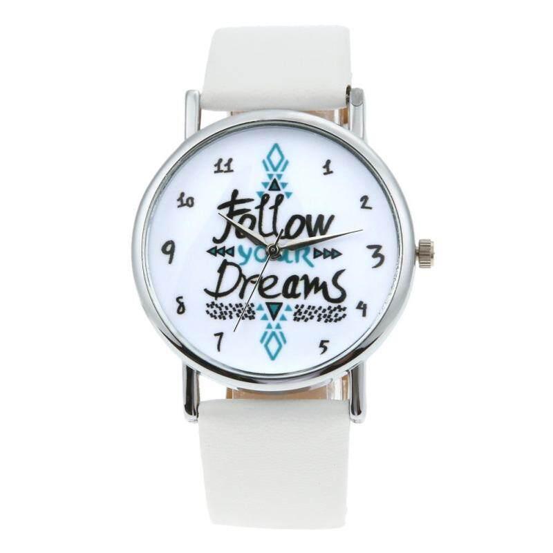 Quote \Follow Your Dreams\ Men Women Fashion Leather Wrist Watch(White) Malaysia