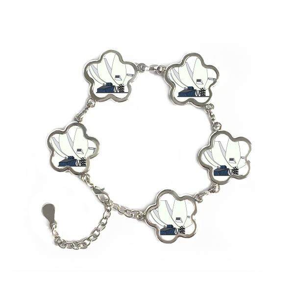 Singapore Art Science Museum Flower Shape Metal Bracelet Chain Gifts Jewelry With Chain Decoration - intl