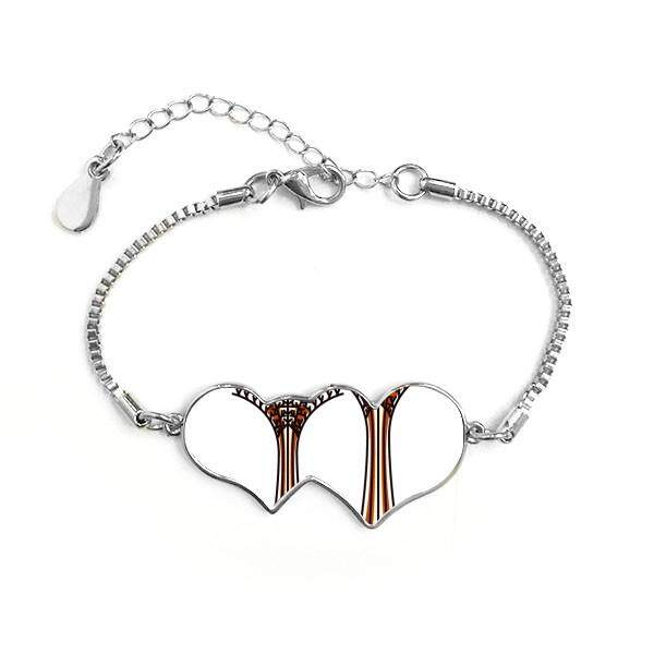 Singapore Gardens By the Bay Double Hearts Shape Round-Cut Cubic Chain Bracelet Love Gifts - intl