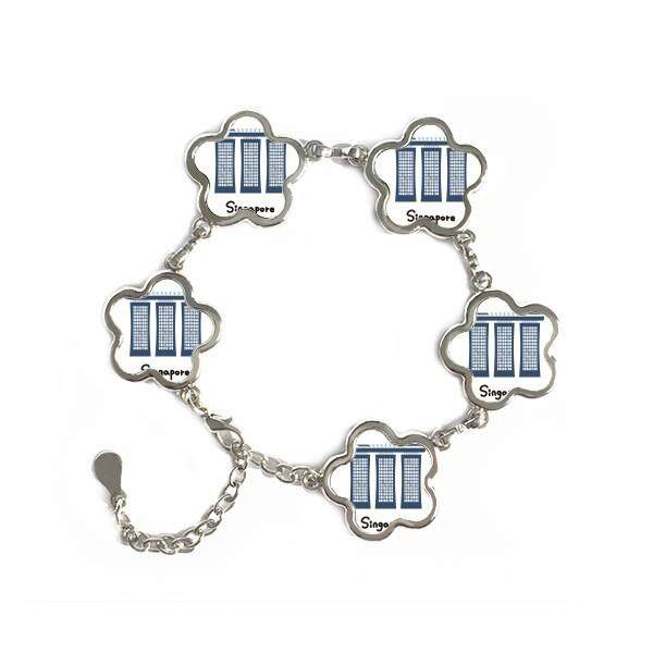 Singapore Marina Bay Sands Flower Shape Metal Bracelet Chain Gifts Jewelry With Chain Decoration - intl