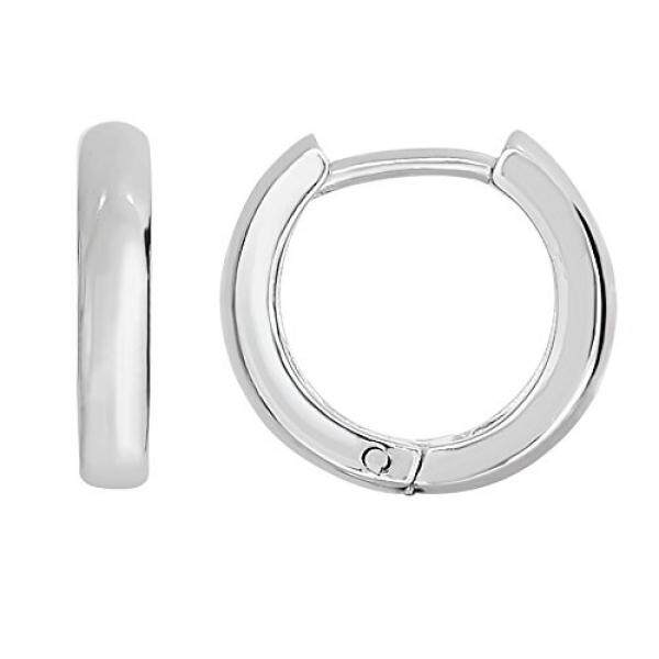 Sterling Silver Round Bayi Huggy Huggies Hoops Hoop Earrings-Intl