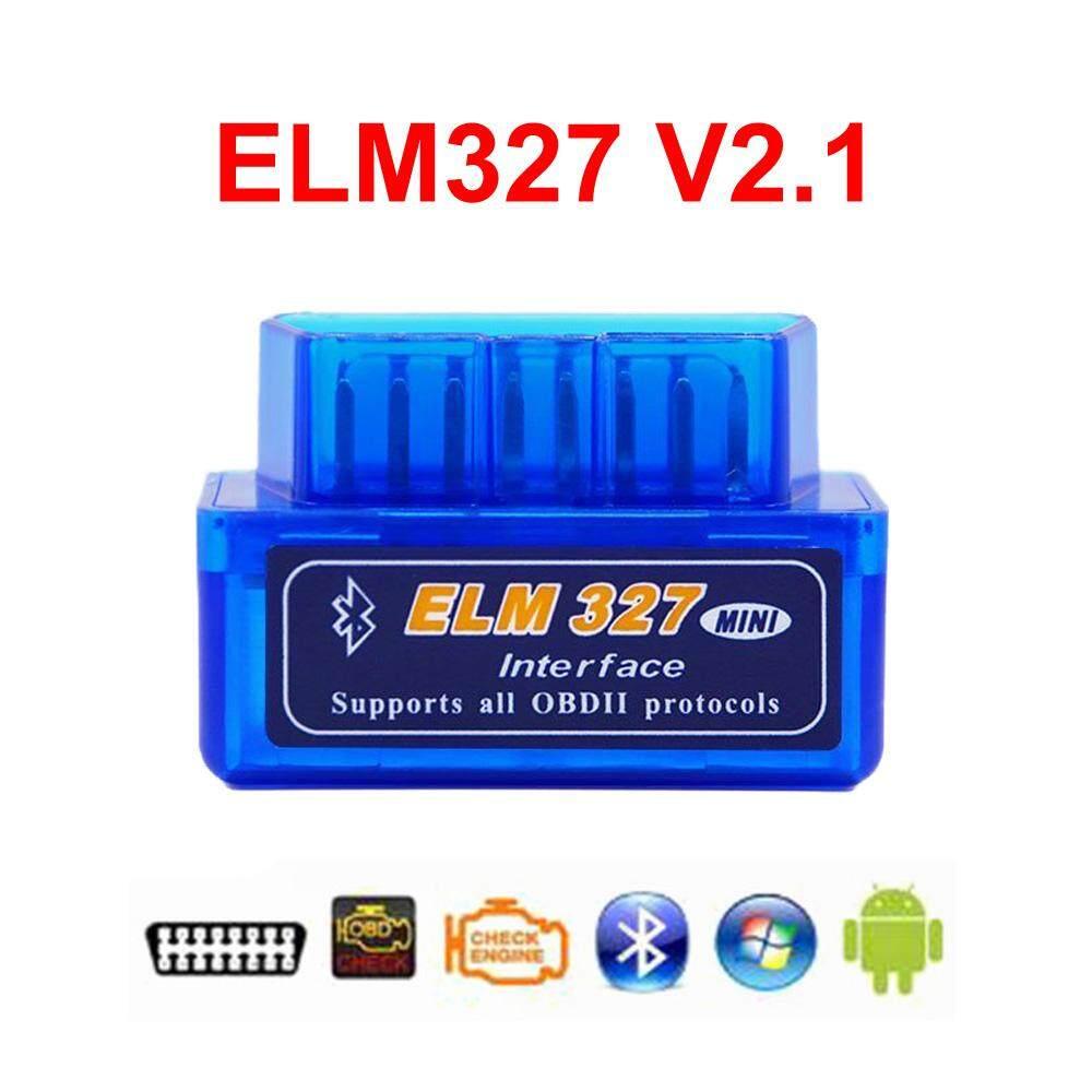 Super MINI ELM327 V2.1 OBD2 Bluetooth Dapat-bus Otomatis Alat Diagnostik Mobil Mendukung Semua OBD-II Protolos untuk Android /Symbian dengan CD Mendorong (Biru) -Internasional
