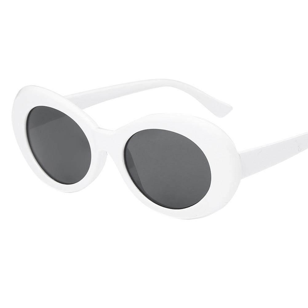Coromosevintage รูปไข่รอบแว่นกันแดดผู้ชายผู้หญิง Uv400 Shades Mirrored เลนส์แว่นตาสี: สีขาว + เทา - สนามบินนานาชาติ By Coromose.