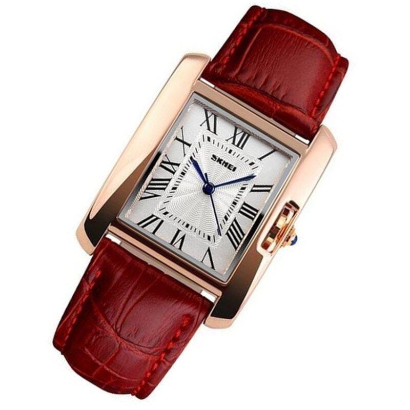 Watch Women SKMEI brand luxury Fashion Casual quartz watches leather sport Lady relojes mujer women wristwatches Dress Girl 1085(red) Malaysia