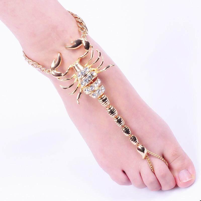 Coromosewomen Fashion Diamante Gelang Kaki Sparkling Scorpion Gelang Kaki Aksesori Sepatu Warna: Keemasan-Internasional