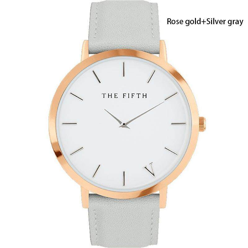 Women Men Casual Simple Quartz Analog Watch Gold Leather Band Wrist Watches 02# Malaysia
