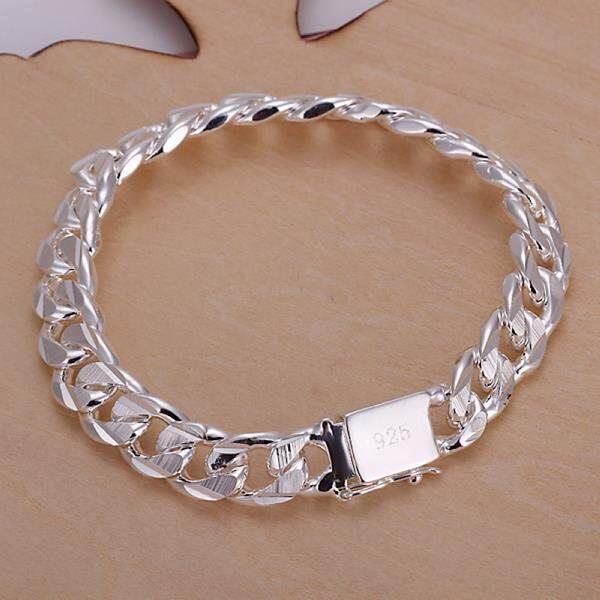 5fe47e0b2 YBC New Fashion Jewelry 925 Sterling Silver 10 mm Square Buckle Sideways Chain  Bracelet - intl