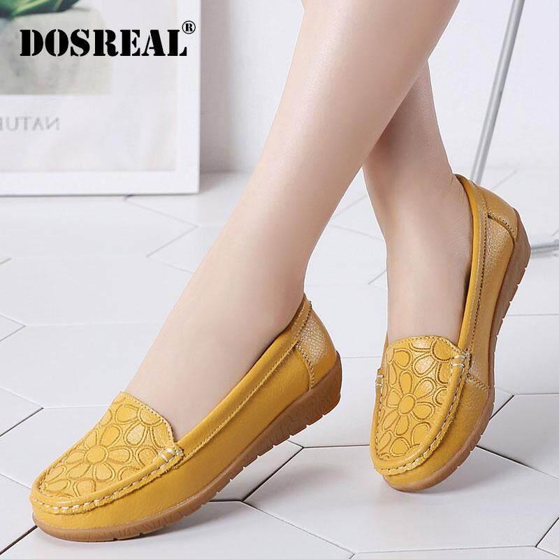DOSREAL Giày Đế Bằng Da Thật Cho Nữ Giày Lười Đế Bằng Thường Ngày Gót Thấp Giày Lười Nữ Giày Y Tá Mềm Cỡ Lớn 35-41