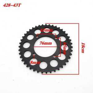 Hình thu nhỏ sản phẩm COLOR Durable Lightweight 428-43T 76MM Inner Diameter Motorcycle Toothed Sprocket