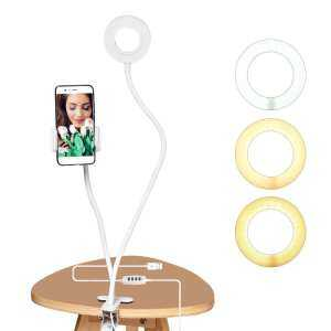 Hình thu nhỏ sản phẩm Photo Studio Selfie LED Ring Light with Cell Phone Mobile Holder for Youtube Live Stream Makeup Camera Lamp for iPhone Android