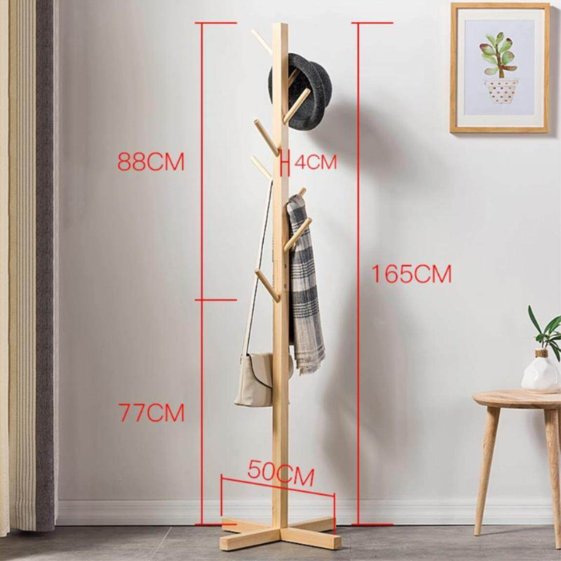 Premium Wooden 8 Hooks Fashion Furniture Solid Wood Living Room Coat Rack Display Stands Hanging Scarves Hats Bags Clothes Shelf