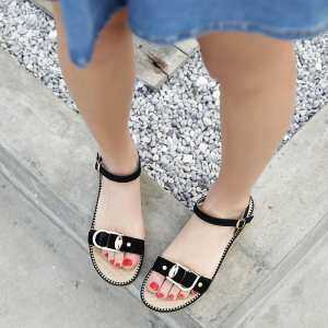 Summer flat leather suede casual rubber bottom button female sandals women's shoes