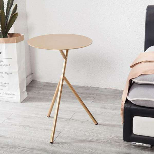 Glod - Vintage Snack Side Table, Mobile End Round Table for Coffee Laptop Tablet, Slides Next to Sofa Couch, Metal Tabletop Furniture with Metal Frame