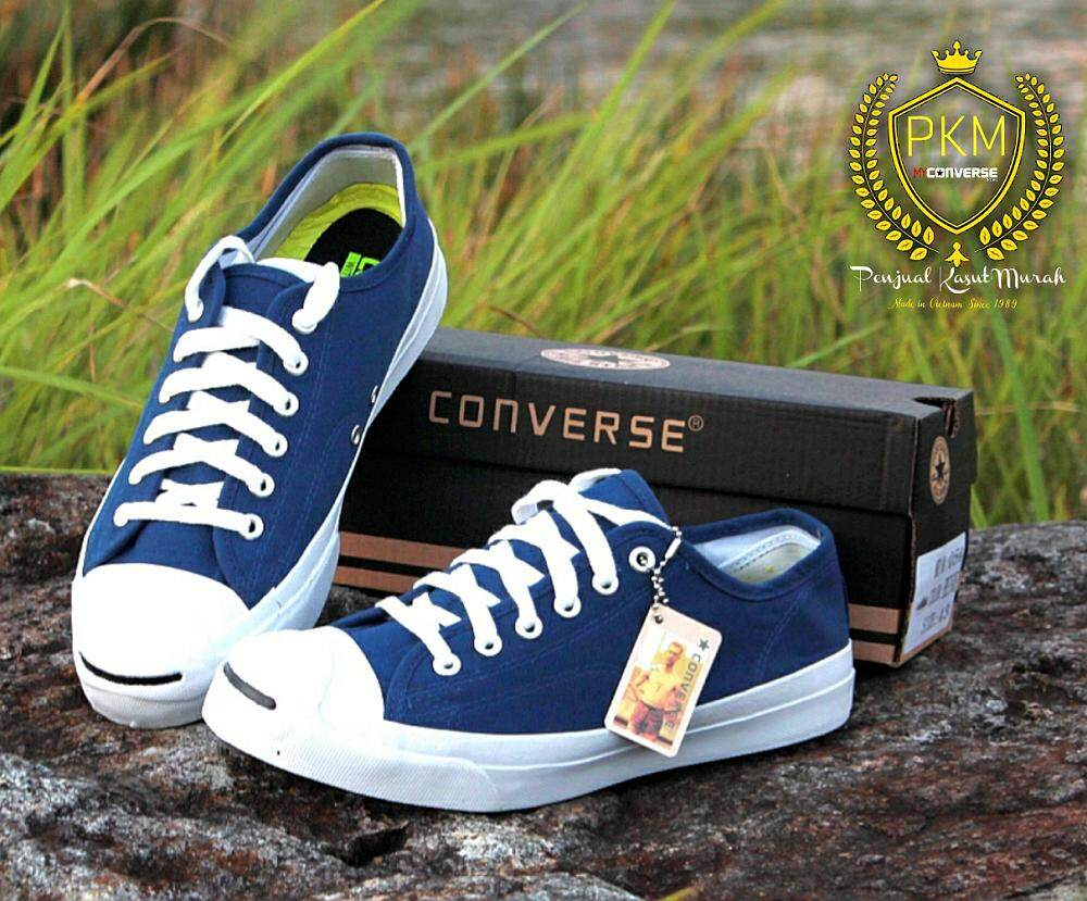 READY STOK- KASUT SHOES CONVERSE JACK PURCELL SNEAKERS LOW TOP - NAVY BLUE 526e50333