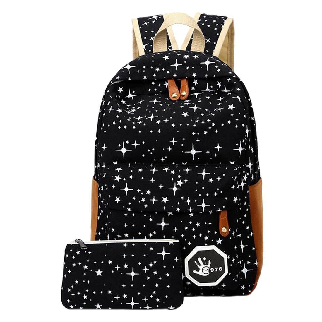 2 pcs set Fashion Star Women Men Canvas Backpack School Bag For girl Boy  Teenagers 0cd144fa87