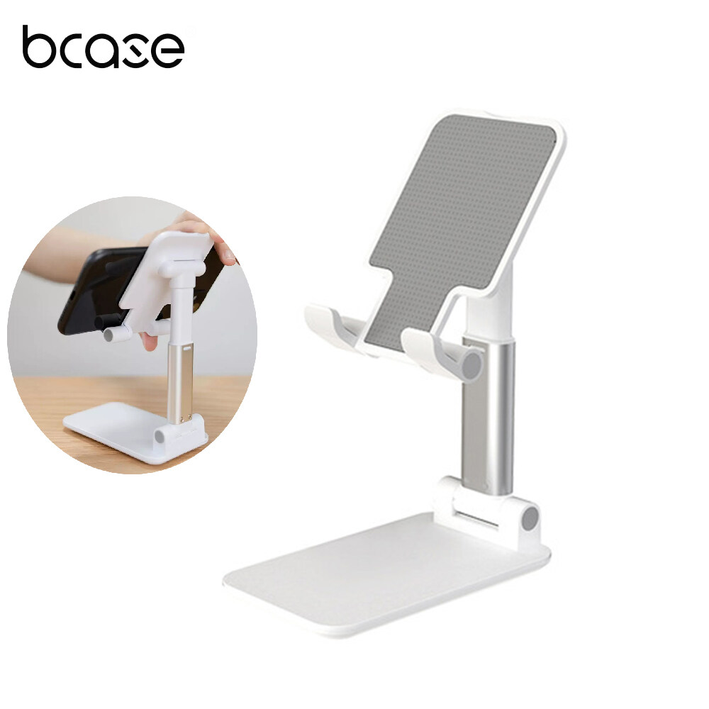 Bcase Desktop Foldable Phone Holder Integrated Structure Design Mini Tablet Smartphone Stand 72 Degrees 16CM Height Free Adjustable Reserved Charging Hole Position For For Below 12.9inch Tablet And Mobile Phones