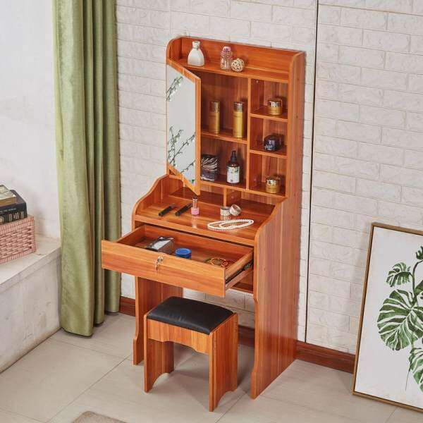 Vanity Set, Dressing Table with Mirror and Stool, 1 Large Sliding Drawers, Hidden Shelves for Brushes Nail Polishes and Cosmetic, Switchable mirror, Easy Assembly