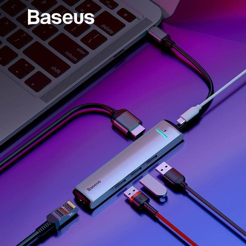 Baseus 6 Ports Usb Type C To 3.0 Usb C Hub For Macbook Pro Led Usb Hub Rj45 Hdmi For Samsung S8 S9 Huawei P20 Mate 20 Type C Hub