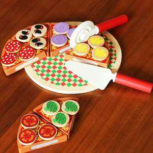 Hình thu nhỏ sản phẩm Wooden quality cut and cut to see pizza cakes Children's cake kitchen play house simulation toys children's chef toys