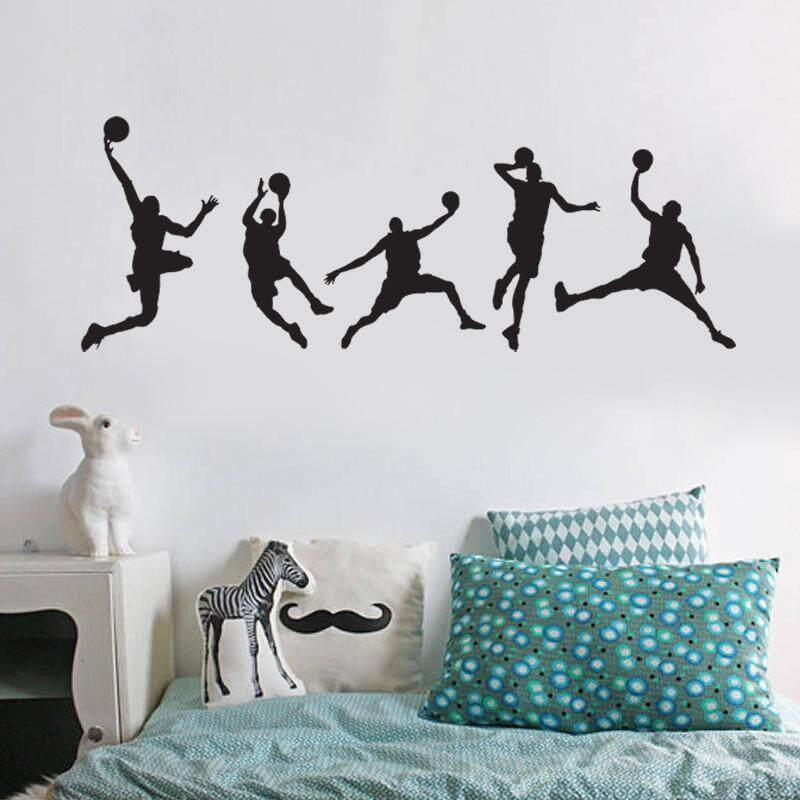 AngelCityMall Cool Decoration Wall Stickers Play Basketball Sports Boy Bedroom Living Room Decoration Stickers