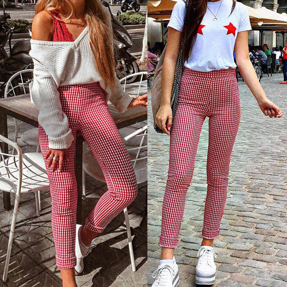 ab0d984d6f79c GUO Women Plaid Casual Pants Skinny Slim High Waist Stretch Trousers