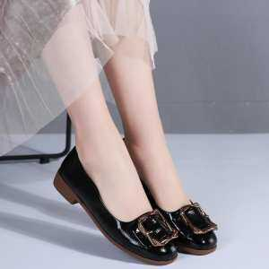 Spring and summer patent leather button a pedal low shoes casual Korean version of the small shoes women