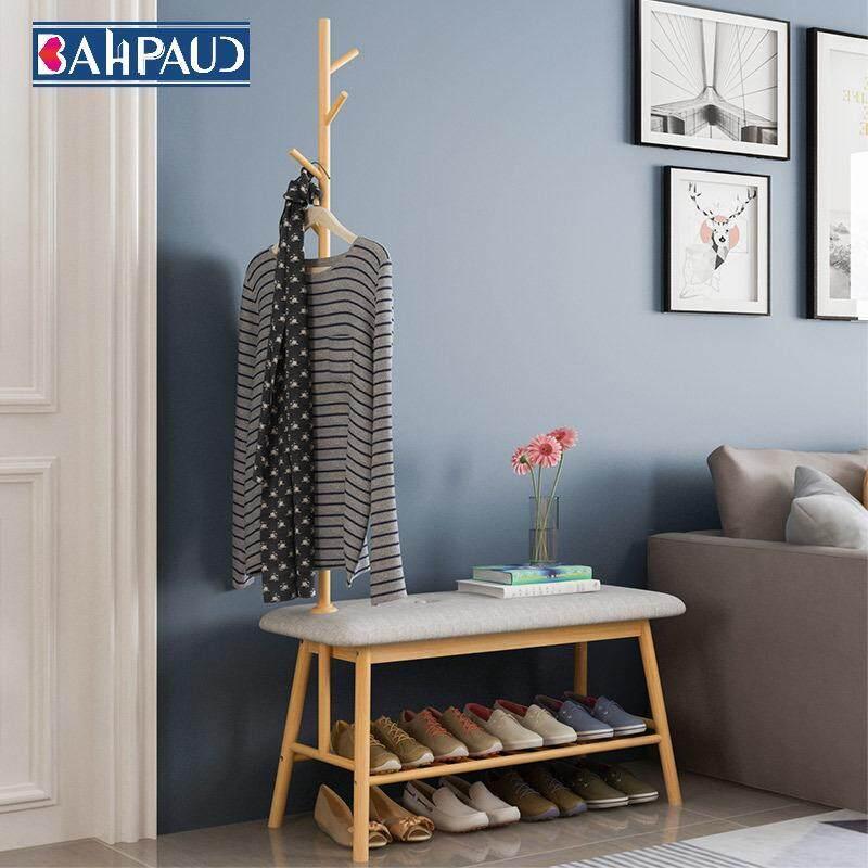BAHPAUD 91*35*165 Bamboo Creative Floor Coat Rack Change Shoe Bench Wooden Bag Rack