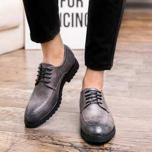 PINSV Shoes Fashion Soft And Comfortable Business Leather Shoes Breathable Casual Leather Shoes Non-Slip Wear-Resistance Dressing Shoes