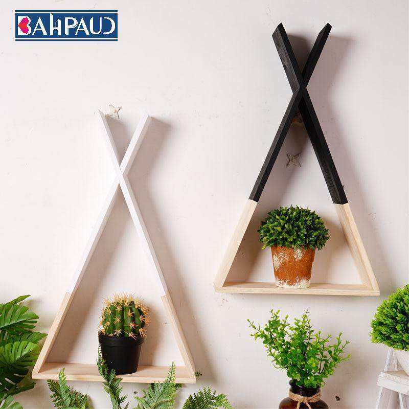 BAHPAUD Nordic Style X-shaped Triangle Shelf Wall Decoration Living Room Children s Room Storage Rack