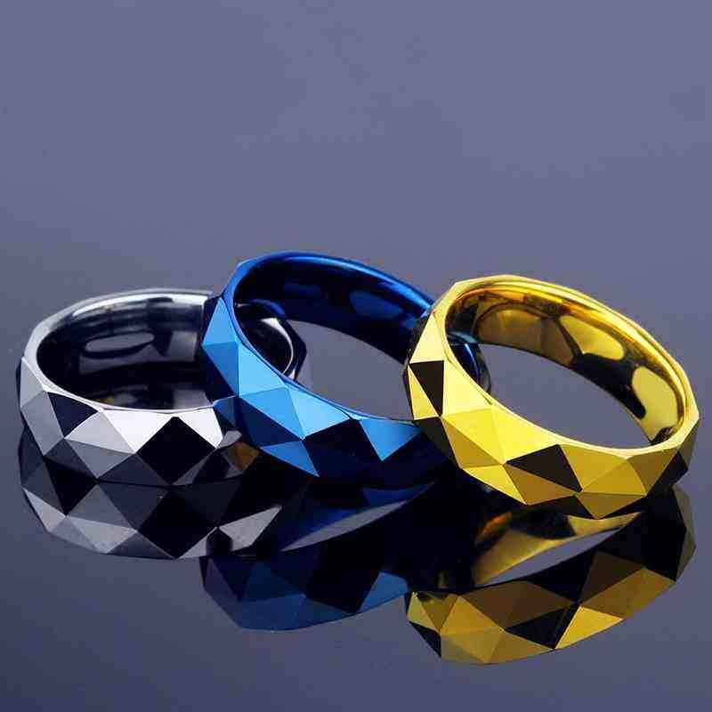 Pria Cadangan Batubara Berbentuk Berlian Cool Cincin Bagus Sebagai Hadiah Fashion Perhiasan untuk Pria (Silver) -Intl