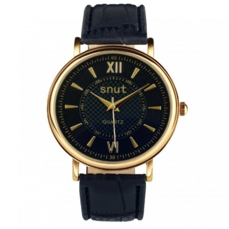 SNUT Fashionable Leather Watch For Men - Black Malaysia