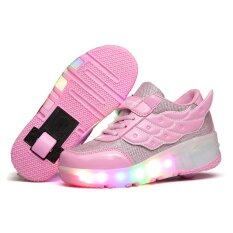 Siswa Membawa RGB Renda Bercahaya Cahaya Sayap Sepatu Roda Anak Sepatu Anak Berwarna Merah Muda-Internasional