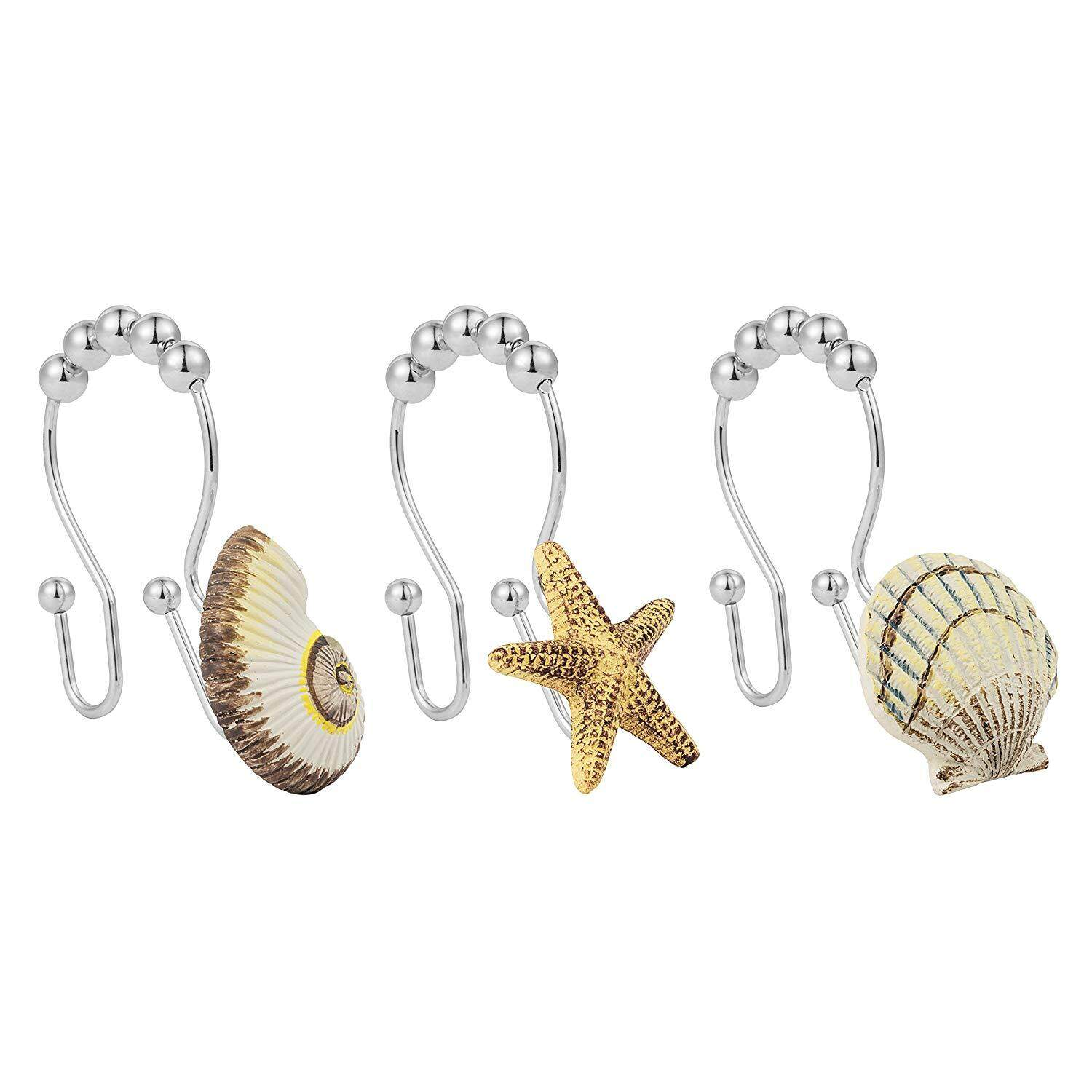 Sea Shell Conch Starfish Double Hooks Glide Shower Ring Hangs For Both Shower Curtain And Liner 12 Pack Free Shipping