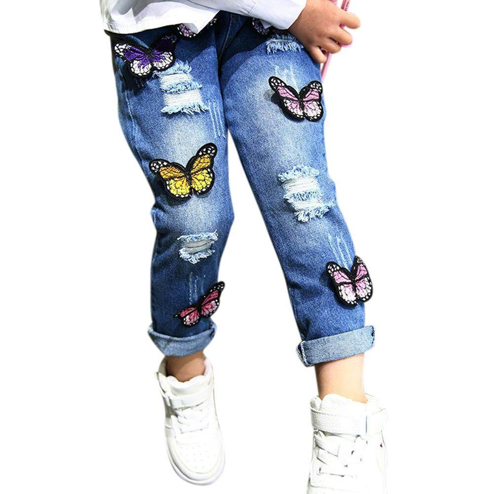 9b6d20963a0bc Product details of Kids Children Girls Ripped Jeans Butterfly Embroidery  Long Denim Pants Trousers