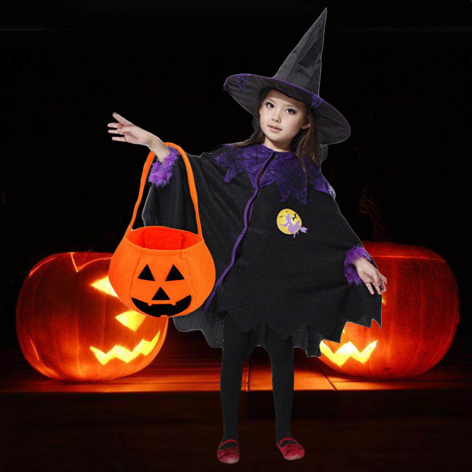 Kid Boys Girls Witch Costumes with Pumpkin Bag Cloak Cape Hat for Halloween Cosplay Role Play Stage Performance