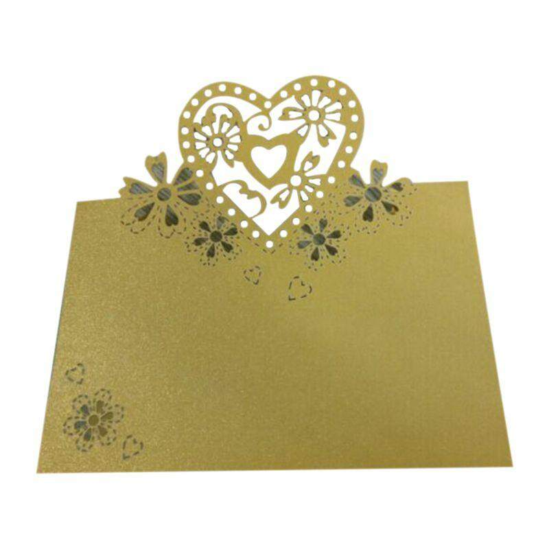 60 Pcs gold wedding party pearlescent love hearts place cards table name