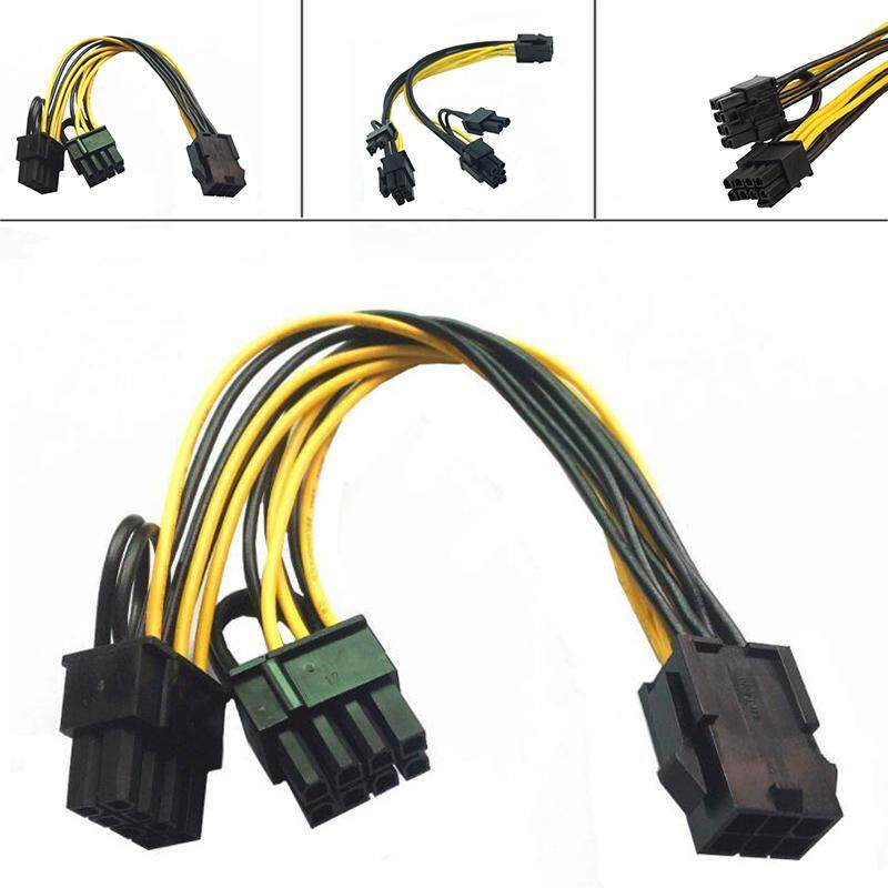 Aukey 6-pin to 2x 6+2-pin 6-pin/8-pin Power Splitter Cable PCIE PCI Express Connectors - intl
