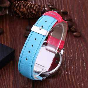 Hình ảnh Beautiful Rainbow Watch Double Color PU Leather Casual Quartz WristWatches - intl