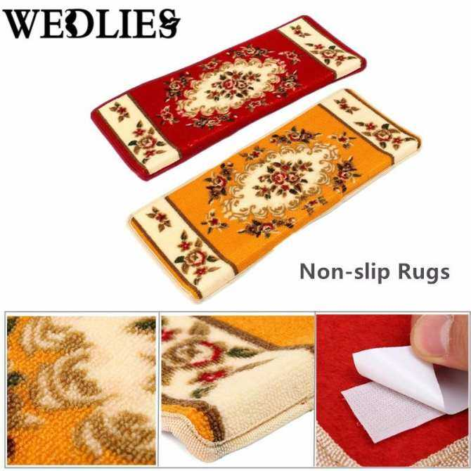 65x24x3CM Rectangle Home Hotel Stair Area Rug Floral Stair Treads Carpet Mats Velco Rugs Staircase Red - intl