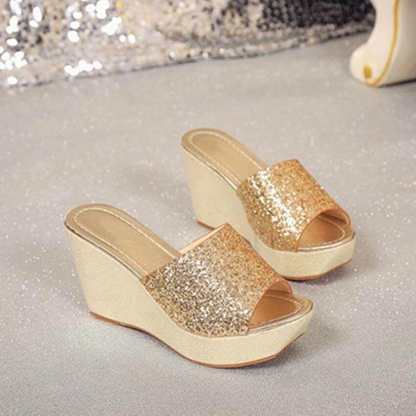 1d016855e01ff Comfort Women Sandals Beach Cuasal Women Summer Casual High Heel Wedge Skid  Slippers Sandals Silver Bling