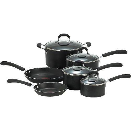 T-fal E938SA Professional Total Nonstick Thermo-Spot Heat Indicator Cookware Set, 10-Piece, Black