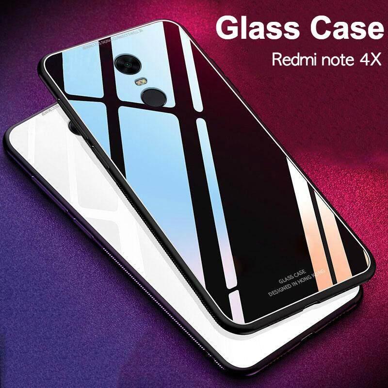 Kaca Case untuk Redmi Note 4X Penutup Penuh Perlindungan Kaca Antigores Kembali Casing Kover untuk Xiaomi