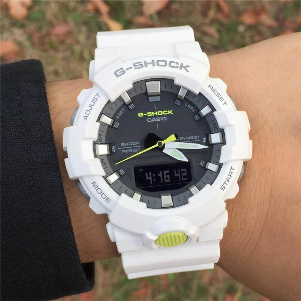 ยี่ห้อนี้ดีไหม  ชัยนาท 【 STOCK】Original _ Casio_G-Shock GA800 Duo W/เวลา 200M กันน้ำกันกระแทกและกันน้ำโลกนาฬิกากีฬาไฟแอลอีดีอัตโนมัติ Wist นาฬิกากีฬาสำหรับ MenGA-800SC-7A สีขาว