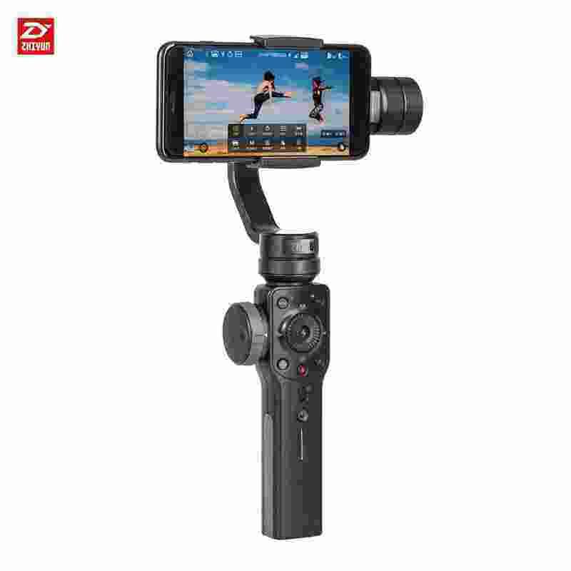 Smartdeal Zhiyun Halus 4 3-Axis Ponsel Cerdas Genggam Universal Stabilizer Fokus Tarik/Fungsi Zoom/Objek Pelacakan/Timelapse/Phonego /Dua Arah Pengisi Daya untuk iPhone X 8 7 6 SE Plus untuk Samsung Galaxy S9 + S9 S8 + S8