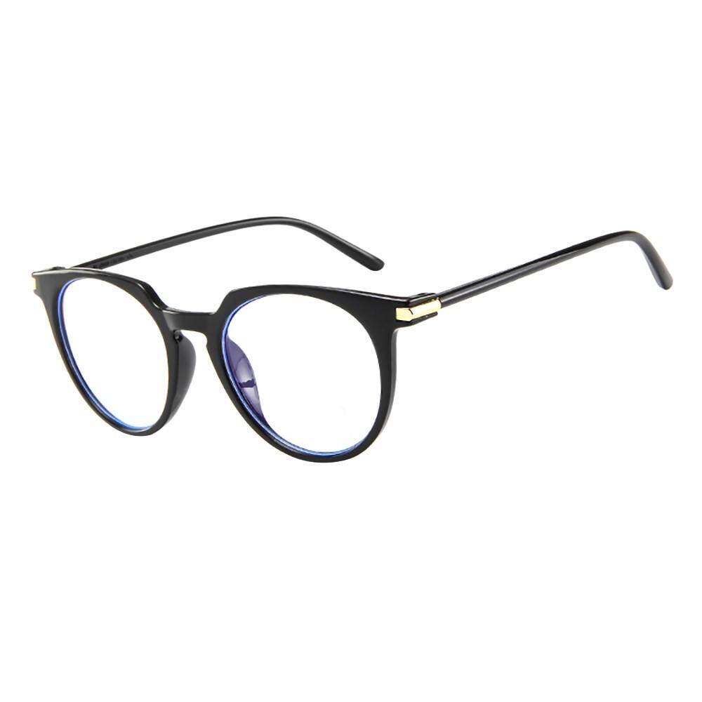 Lambertshop Fashion Oval Bulat Kacamata Lensa Bening Vintage GEEK Nerd Gaya Retro Bingkai Logam