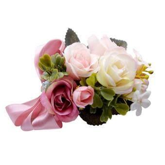 d89d75a4cc LJAN Wrist Corsage Bridesmaid Sisters Hand Flowers Artificial Bride Flowers  For Wedding Party Decoration Bridal Prom