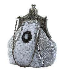 Womdee Vintage Victorian Brooch Beaded Clutch Purse Evening Bags,Silver