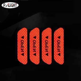 PAlight 4Pcs/Set Car Door Open Stickers Reflective Tape Safety Warning Decal Supplies-