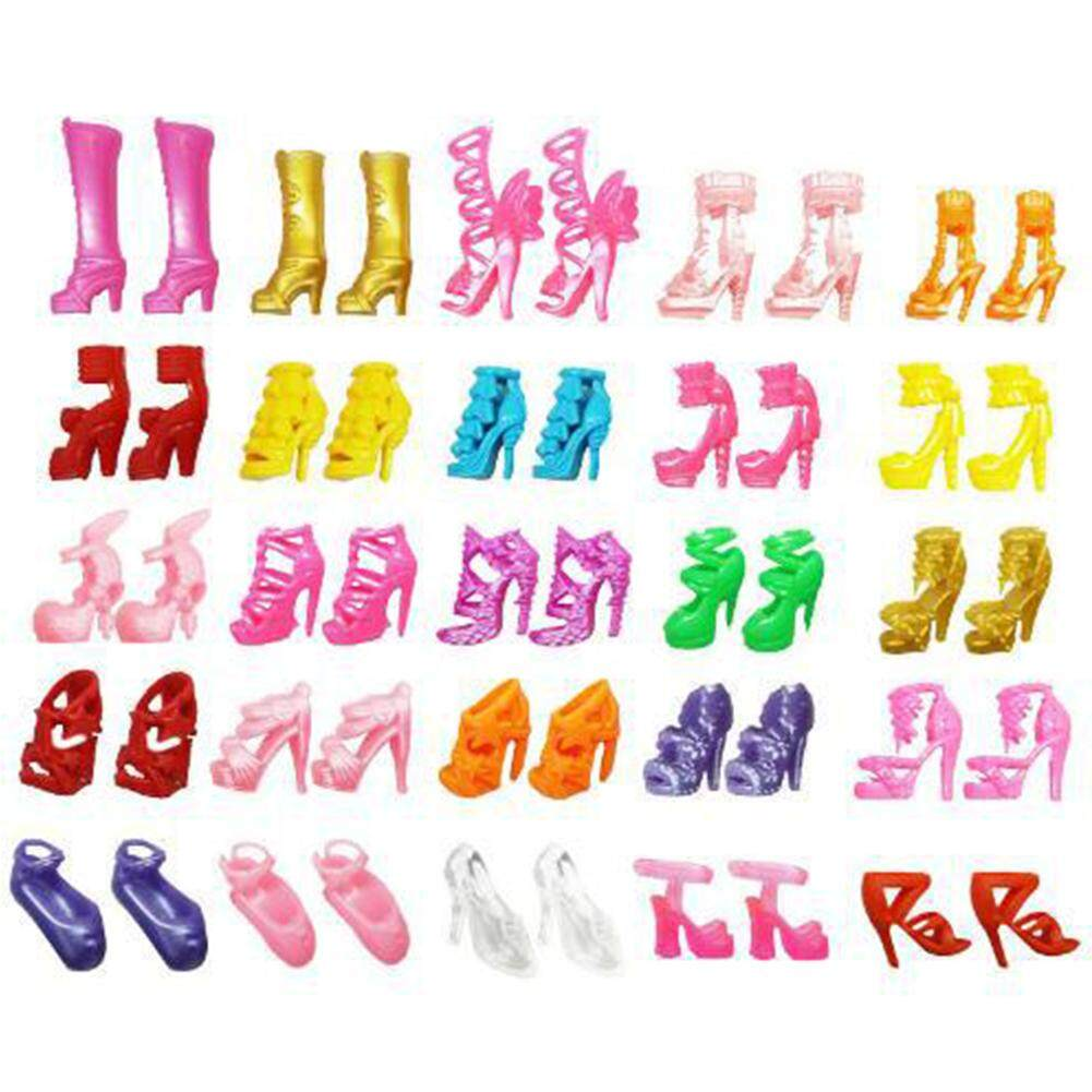 สั่งซื้อ HiQueen 30Pairs/Pack Fashion High Heels Shoes Sandals Doll Shoes for Barbie Dolls Accessory Toy