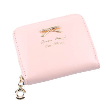 Hequ Durable Womens Mini Lovely Purse Faux Leather Lady Bow Purse Wallet Card Holders Handbag Pink